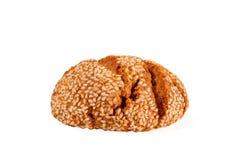土耳其曲奇饼用在白色背景隔绝的芝麻 库鲁面团 Kurabiye 免版税库存图片