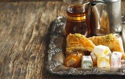 土耳其曲奇饼的甜点 混杂的Lokum 免版税库存照片