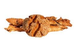 土耳其曲奇饼stiks用在白色背景和向日葵种子隔绝的芝麻 库鲁面团 Kurabiye 图库摄影