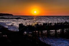 土耳其海边镇的人们和环境 图库摄影