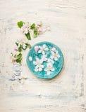 土耳其玉色有白色开花的水碗在轻的破旧的别致的木背景 库存照片