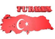 土耳其的地图例证有旗子的 免版税图库摄影