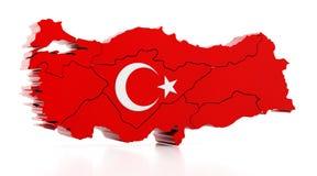 土耳其的地图用土耳其旗子纹理盖了 3d例证 皇族释放例证
