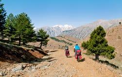 土耳其的山的两个骑自行车者 图库摄影