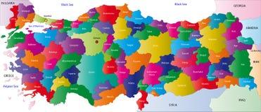 土耳其的映射 免版税库存照片