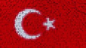 土耳其的风格化马赛克旗子做了映象点, 3D翻译 向量例证
