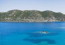土耳其的Uchagiz海湾的Simena解决在凹下去的城市附近的 库存图片