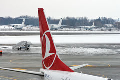 土耳其航空飞机在鲍里斯皮尔机场 基辅,乌克兰 免版税库存照片