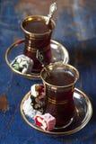 土耳其茶和欢欣 库存图片