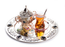 土耳其茶和甜点 库存图片