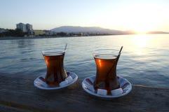 土耳其茶,土耳其萨姆松Atakum 库存照片