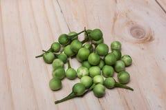 土耳其莓果茄属torvum Sw 在一个木地板上 图库摄影