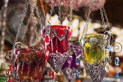 土耳其蜡烛台在义卖市场 免版税库存图片