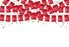 土耳其语下垂与五彩纸屑的诗歌选白色背景 免版税库存图片