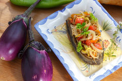 土耳其语被充塞的茄子,素食开胃菜 免版税库存照片
