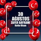 土耳其语8月30日,胜利天讲0 Agustos, Zafer Bayrami Kutlu Olsun 也corel凹道例证向量 免版税库存照片