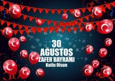 土耳其语8月30日,胜利天讲0 Agustos, Zafer Bayrami Kutlu Olsun 也corel凹道例证向量 免版税图库摄影