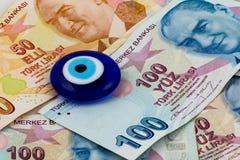 土耳其里拉和凶眼 免版税图库摄影