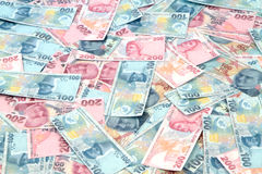 土耳其里拉钞票(尝试或TL) 100 TL和200 TL 免版税库存照片