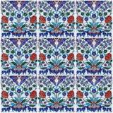 土耳其陶瓷砖拼贴画装饰背景  免版税库存照片