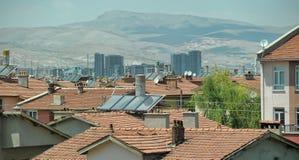 土耳其,凯梅尔,加热的水的15,07,2014个系统从sunligh 库存照片