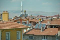 土耳其,凯梅尔,加热的水的15,07,2014个系统从sunligh 免版税库存图片