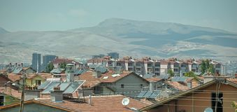 土耳其,凯梅尔,加热的水的15,07,2014个系统从sunligh 免版税图库摄影