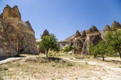 土耳其,卡帕多细亚 在谷Pashabag (修士的谷的石蘑菇) 免版税库存图片