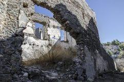 土耳其,皮船鬼城,一个被破坏的房子的特写镜头视图, 库存图片