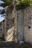 土耳其,皮船鬼城,一个被破坏的房子的特写镜头视图, 图库摄影
