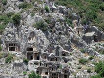 土耳其, Lycian坟茔在米拉市 库存照片