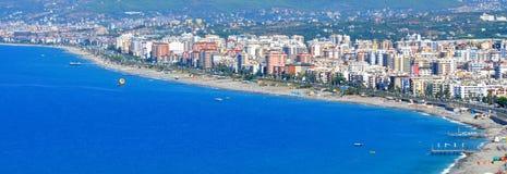 土耳其-阿拉尼亚市全景 免版税库存照片