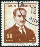 土耳其- 1967年:展示凯末尔阿塔图尔克1881-1938 免版税图库摄影
