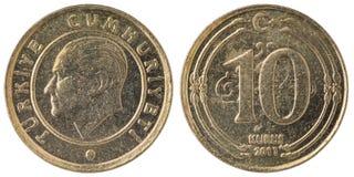 10土耳其kurus硬币, 2011年,双方 库存照片