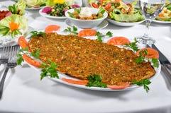 土耳其lahmacun kebap 免版税图库摄影