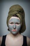 黏土脸面护理面具 免版税库存图片