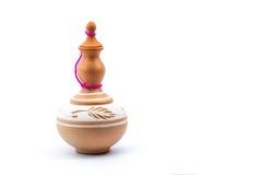 黏土花瓶(Labu Sayong)在被隔绝的背景 免版税库存照片
