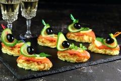 土豆和三文鱼开胃菜用黄瓜和橄榄 免版税图库摄影