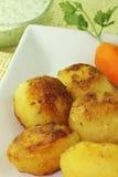 土豆和红萝卜sautéed用绿色调味汁 免版税图库摄影