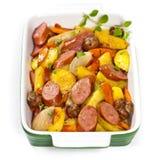 土豆和香肠晚餐 免版税库存图片