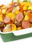 土豆和香肠晚餐 库存照片