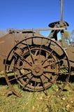 土豆收割机的轮子和齿轮 图库摄影