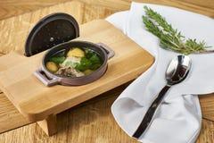 土豆汤用丸子 库存图片