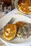 土豆炸肉排或薄煎饼用蘑菇酱油和葱 土气样式 图库摄影