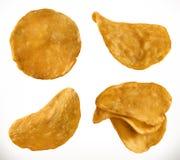 土豆片, 3d传染媒介象集合 向量例证
