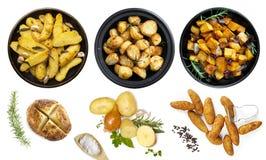土豆盘的汇集隔绝了顶视图 免版税库存照片