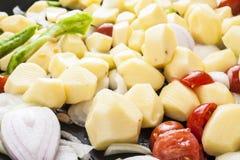 土豆蕃茄葱和胡椒当事人 库存图片