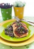 土豆薄烤饼用蘑菇酱油 免版税库存照片