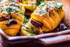 土豆 烤土豆 家庭烹饪烘烤土豆 充分烤盘被烘烤的土豆充塞用烟肉香肠葱 免版税图库摄影