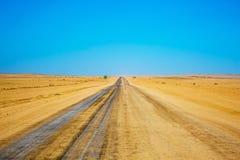 土路在纳米比亚沙漠 免版税库存照片